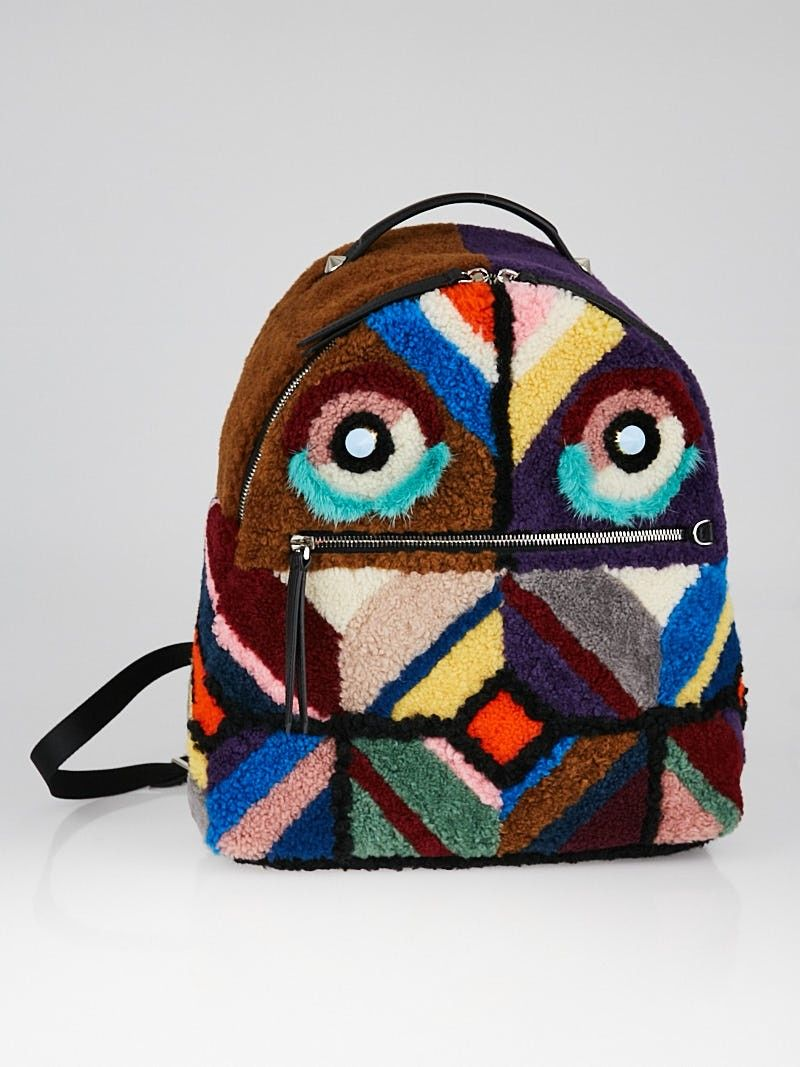 0731f96a463 Fendi Multicolor Shearling/Leather Monster Buggies Backpack Bag....ugliest  bag I've seen in a long time