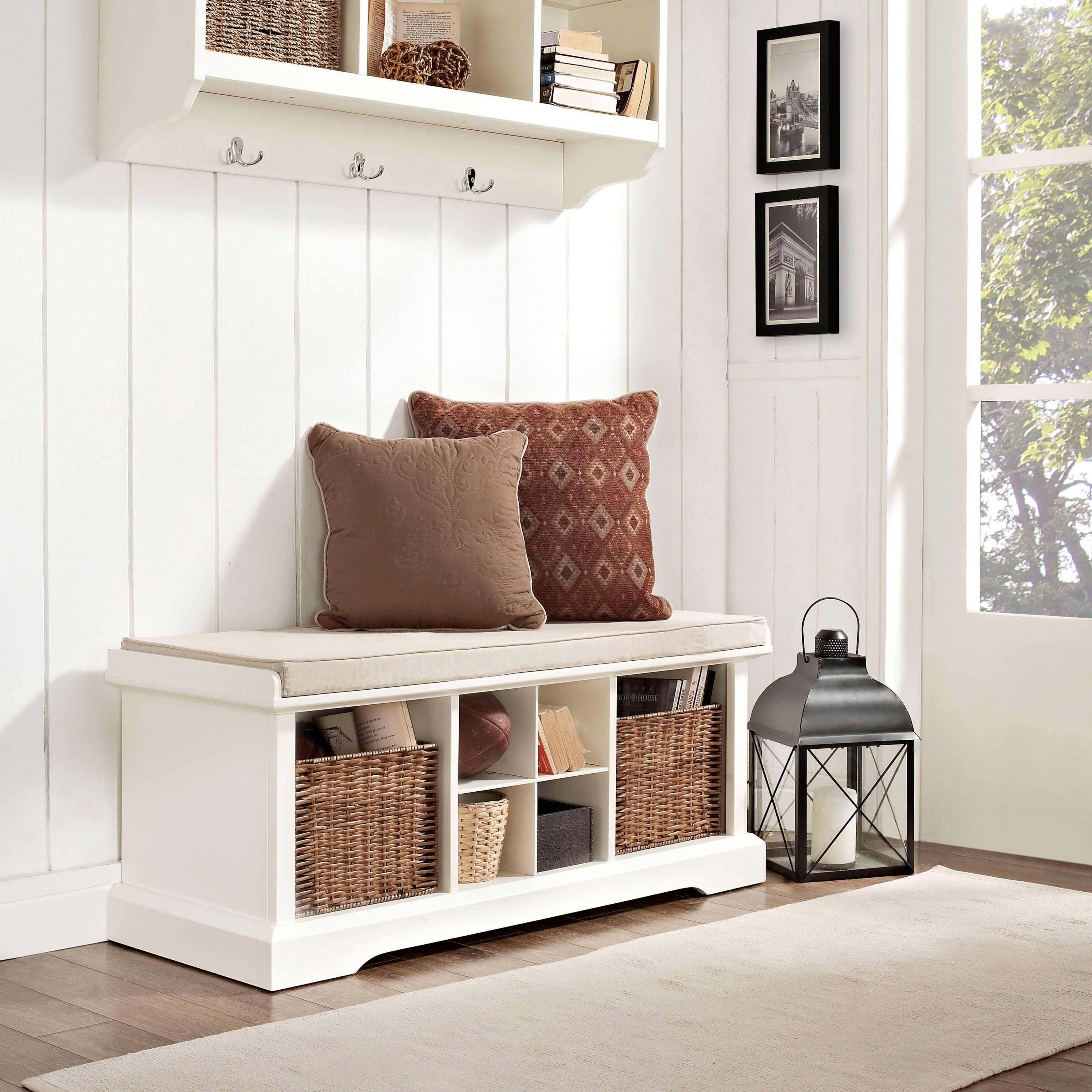 Delightful Modern Entryway Storage Bench White With 2 Pillows