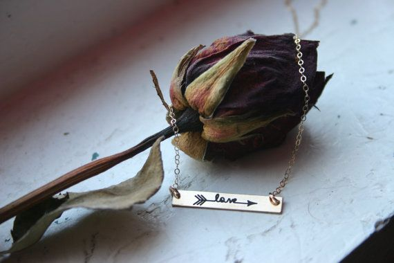 Love Arrow Bar necklace wife girlfriend by TheFeatherPenShop