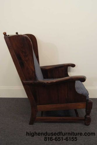Ethan Allen Antiqued Pine High Back Library Lounge Chair Old Tavern Finish Furniture Redo Vintage
