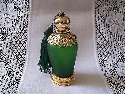 Vintage PERFUME BOTTLE Green Glass Gold Base & Stopper w/ DAUBER Dobber
