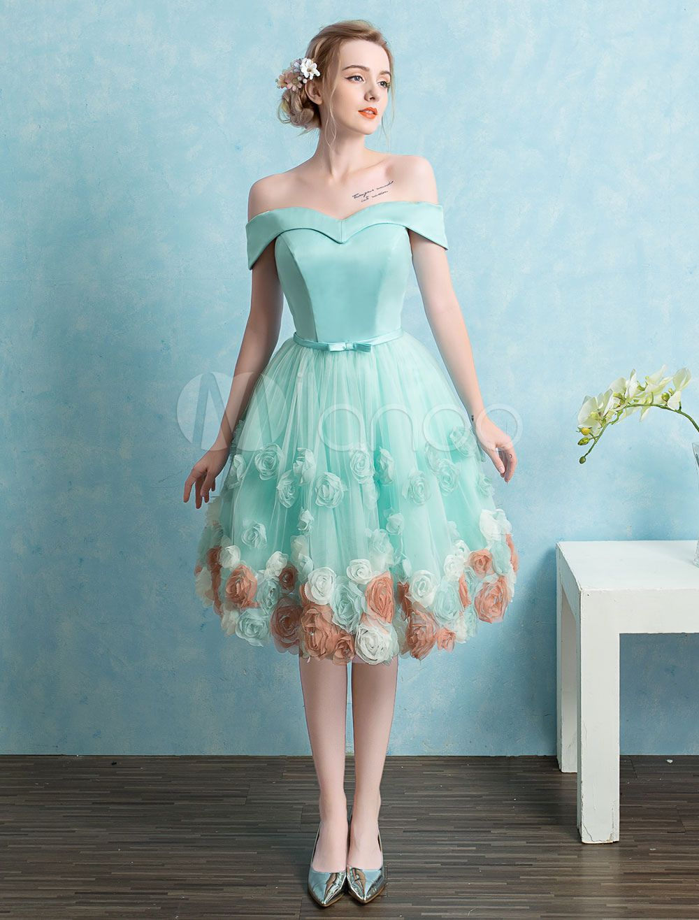 01bbcdf0117 White Prom Dresses 2018 Short Off The Shoulder Prom Dress Tulle 3D Flower A  Line Knee Length Homecoming Dress With Detachable Cape  Short