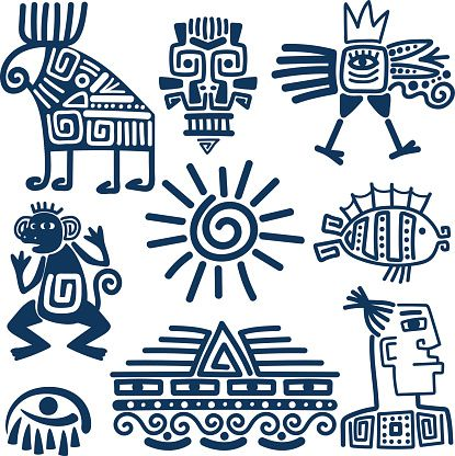 Maya or inca style blue linear totem icons. Aztec ancient symbols...