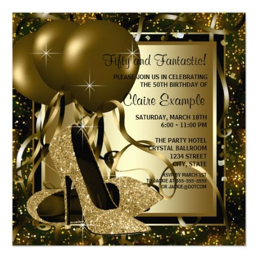 Black Gold High Heels Womans Birthday Party Custom Invitations