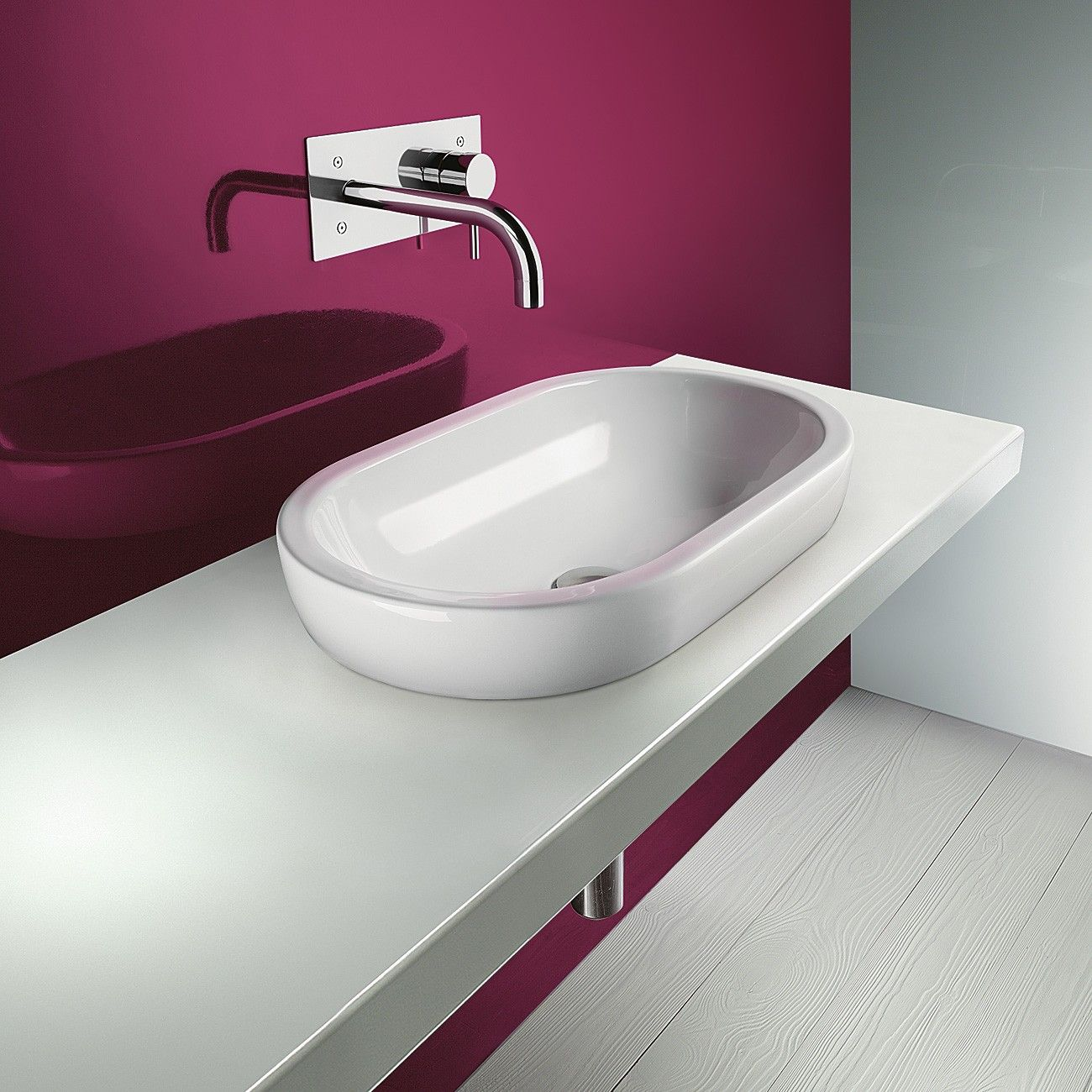 Catalano Ceramic Washbasin | Semi-inset into bench