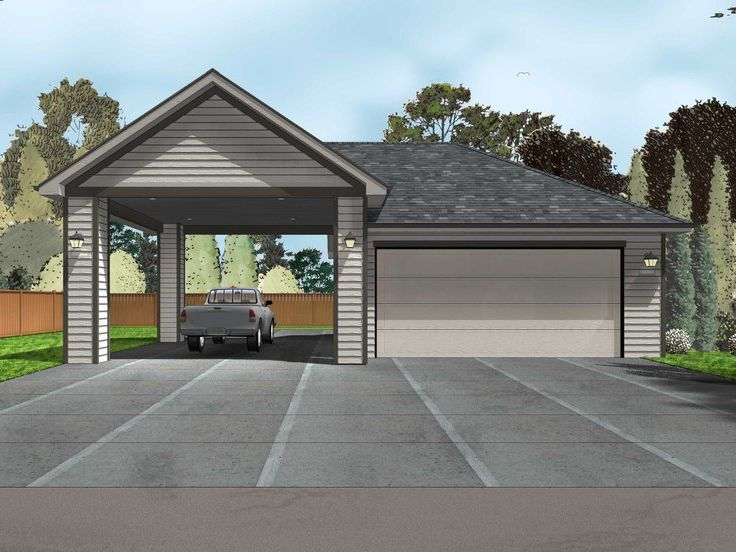 050G0080 2Car Garage Plan with Carport (With images