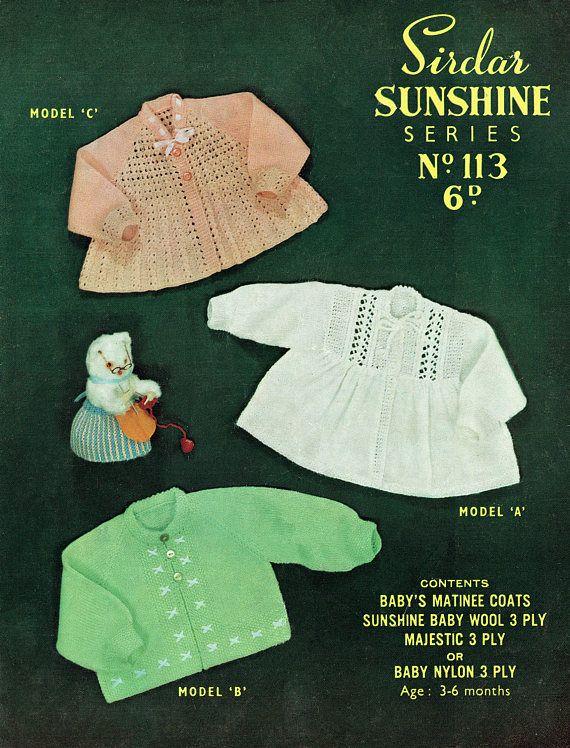 PDF Vintage 1950s Baby Girl Knitting Pattern Sirdar 113 | Vintage ...