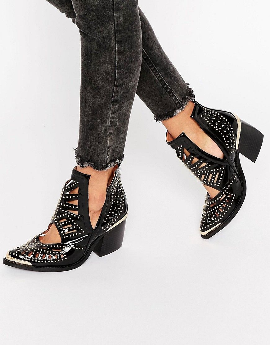 d4b1e344efef Jeffrey Campbell Stud Western Leather Heeled Ankle Boots at asos.com ...
