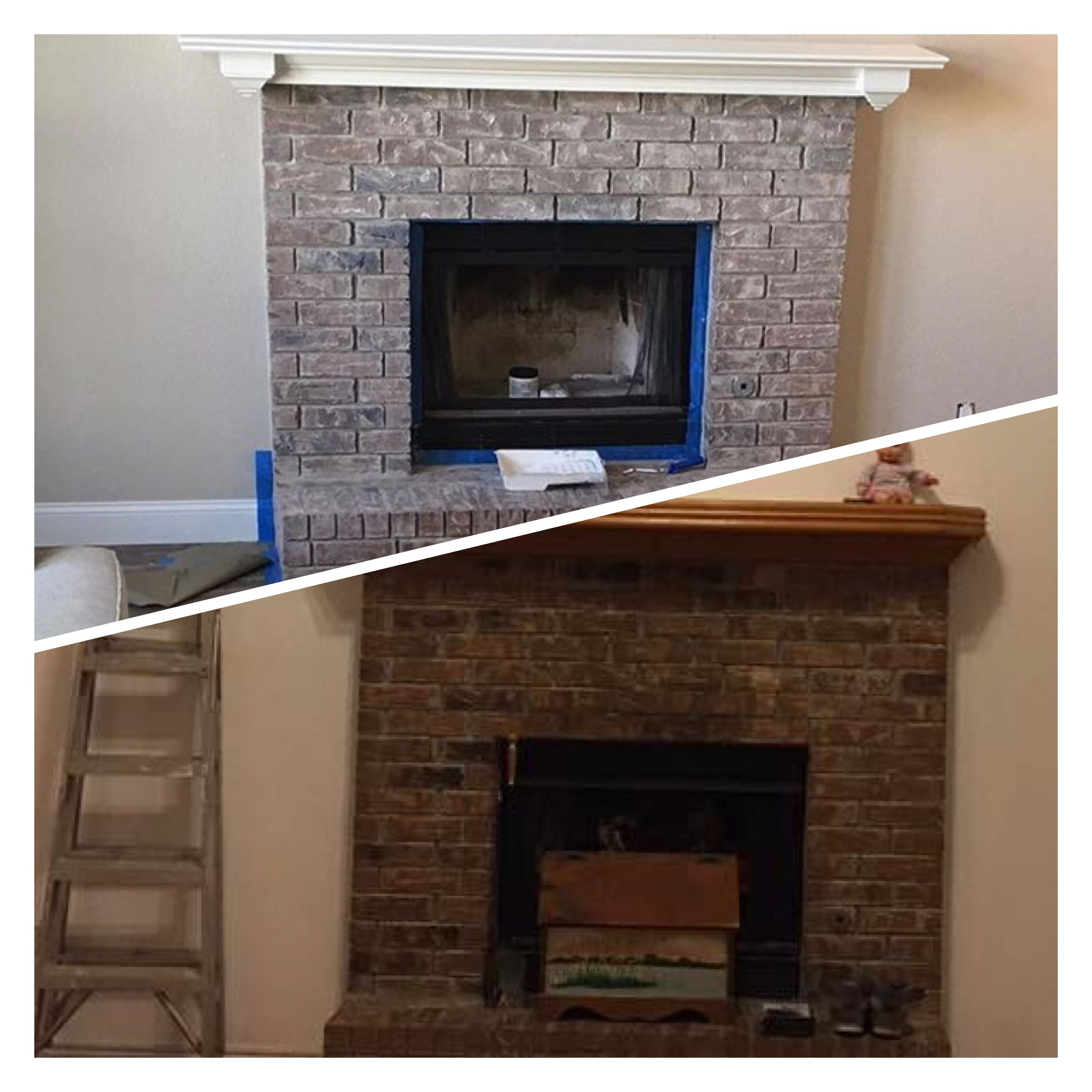Brick Fireplace Before And After Using Valspar Limewash Glaze White Wash Brick Fireplace Fireplace Seating