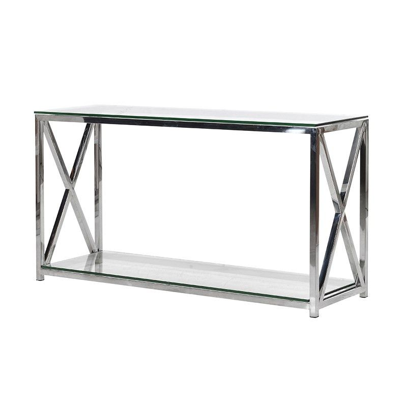 silver glass living room furniture%0A Sloane Chrome and Glass Hall Table  Buy from the French Furniture  Specialist