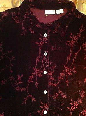 New Jaclyn Smith Bohemian Velvet Burgundy Burnout Velvet Shirt Jacket Plus Sz 1x  $13.99