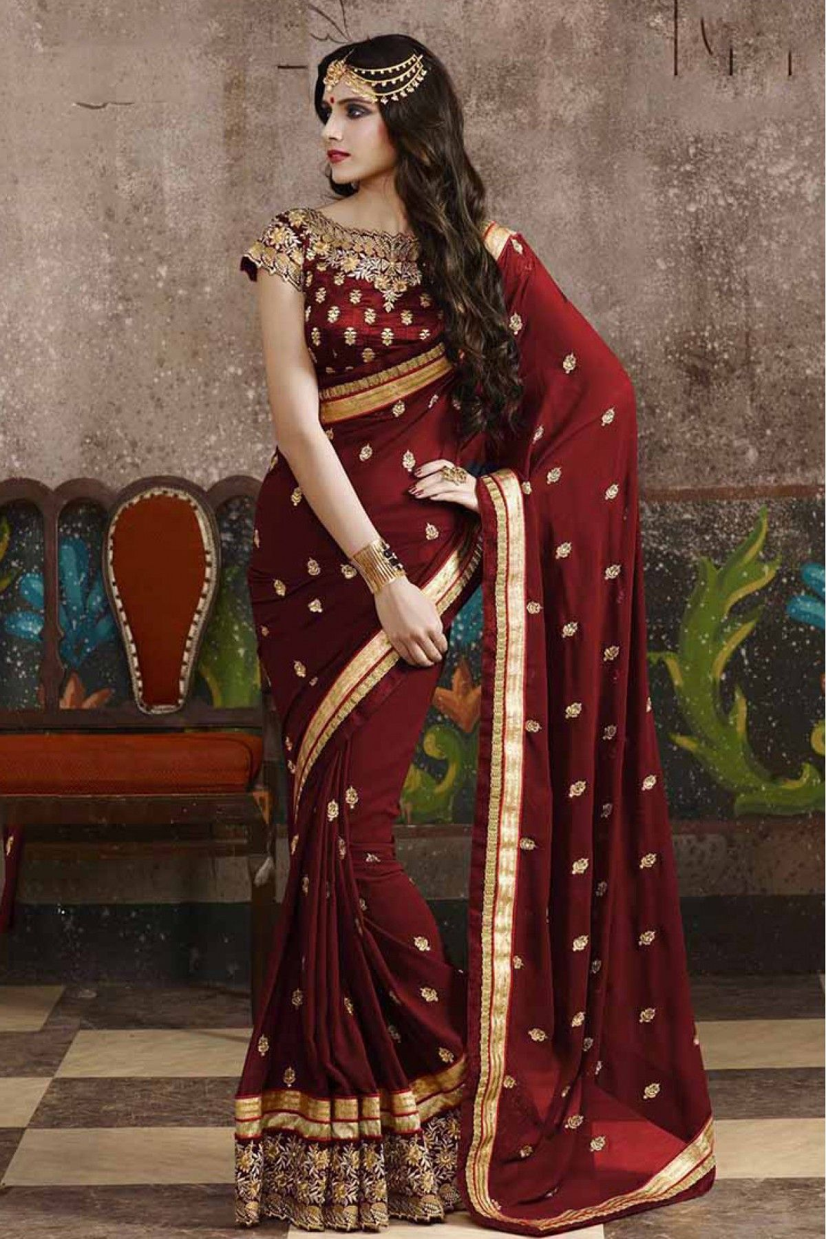 Georgette Party Wear Designer Saree In Maroon Colour With Images