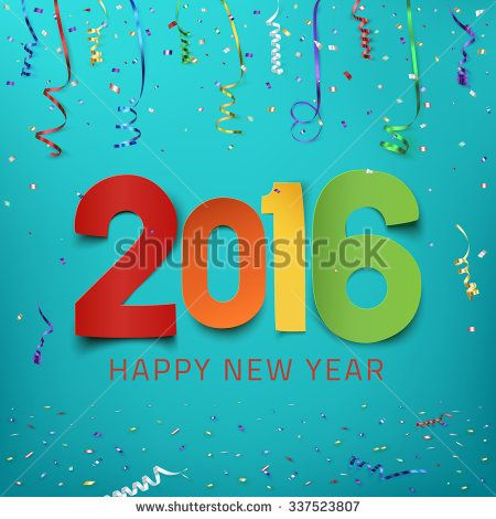 Happy New Year  Colorful Paper Type On Background With