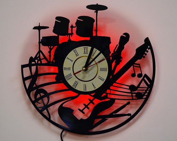 Guitar and drum led lighting wall clock vinyl record nightlight guitar and drum led lighting wall clock vinyl record nightlight clock aloadofball Image collections