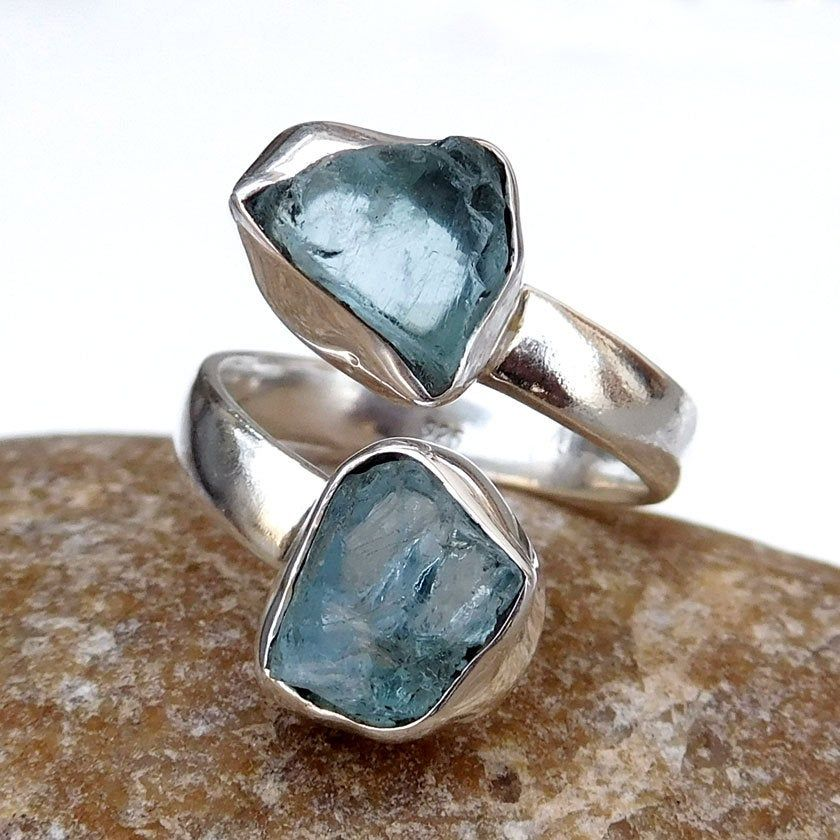 Aquamarine Ring, Natural Aquamarine Adjustable Ring, Raw