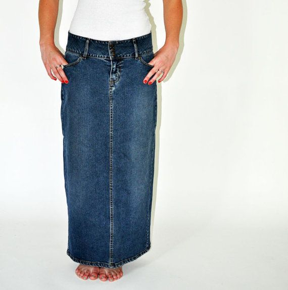 vintage distressed Levi's denim maxi straight skirt by VintageTins ...