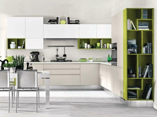 weiß grüne küche essplatz einrichten ideen modern | küche