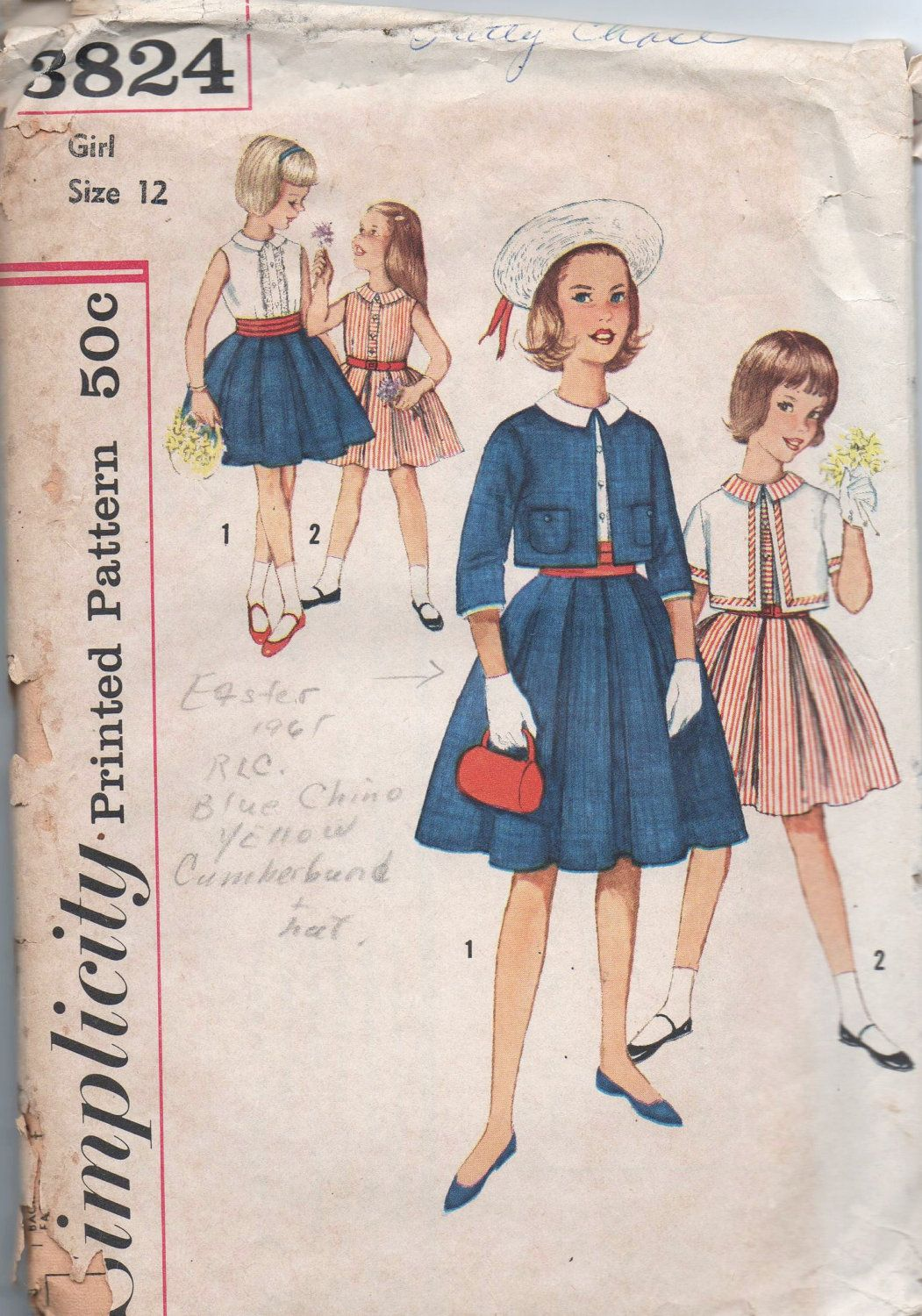 1960s vintage pattern Simplicity 3824 size 12 breast by GreatScott on etsy
