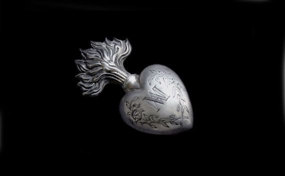 Antique Tiny French Heart Ex Voto -Sacred Heart of Marie-Sterling ...