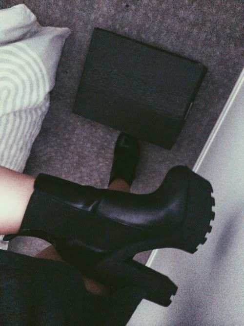 punk thick heeled boots