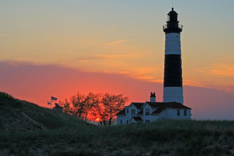 big sable point lighthouse sunset on memorial day