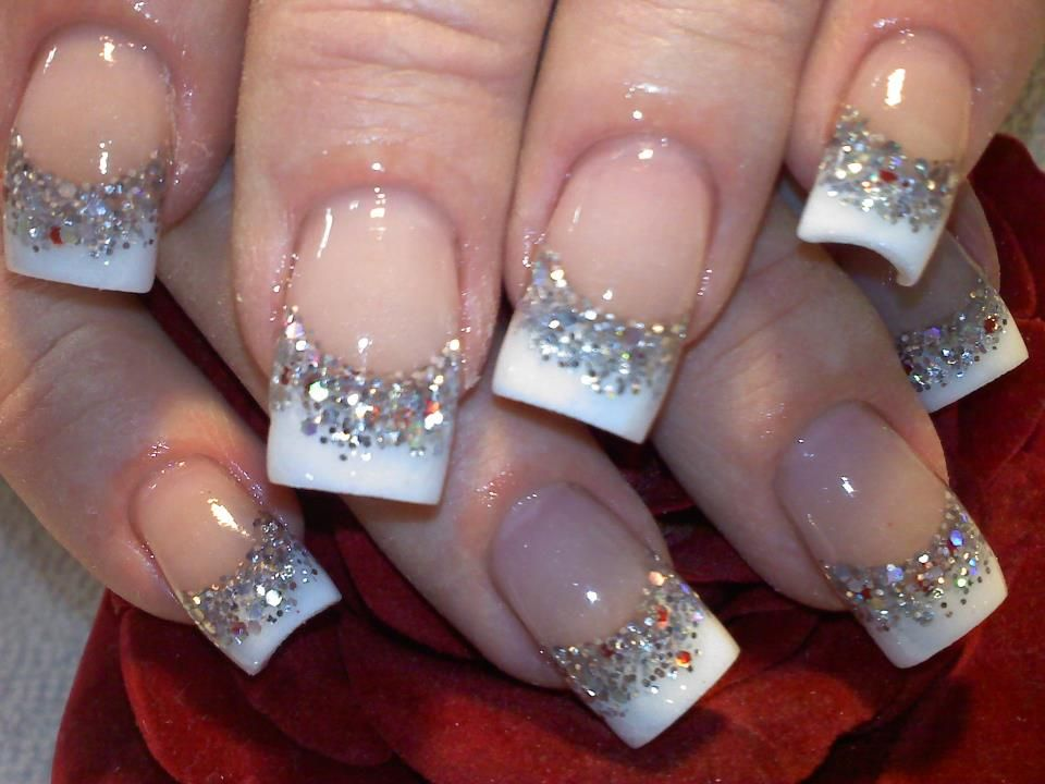 French With Bling Nail Art Gallery By Nails Magazine French Tip Acrylic Nails Rhinestone Nails French Nails