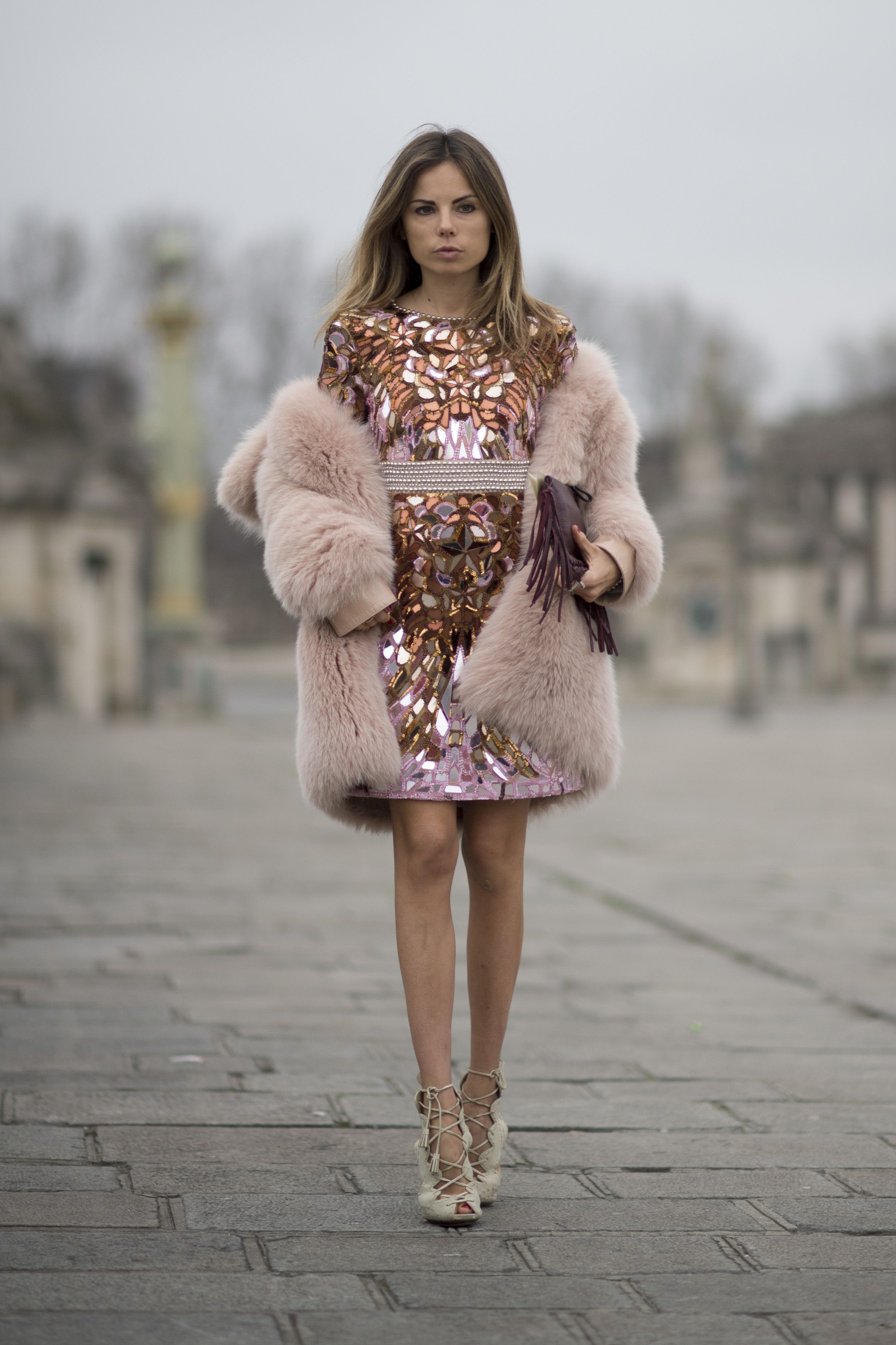 Sequin Dress Fur Coat