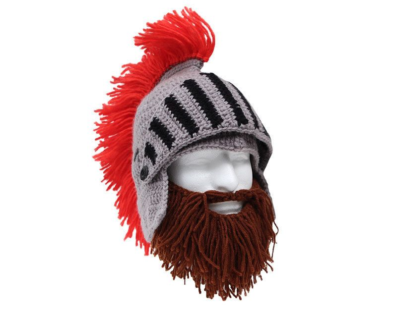 Ritter Winter Mütze mit kurzem braunem Bart | verrückte Sachen ...