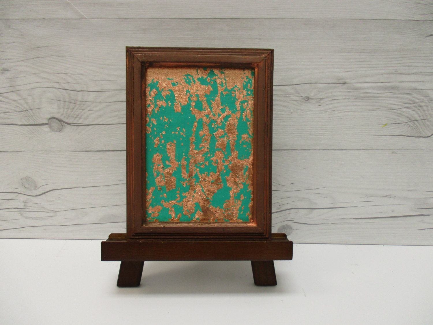 Copper Wall Art, Copper Leaf, Emerald Green Abstract