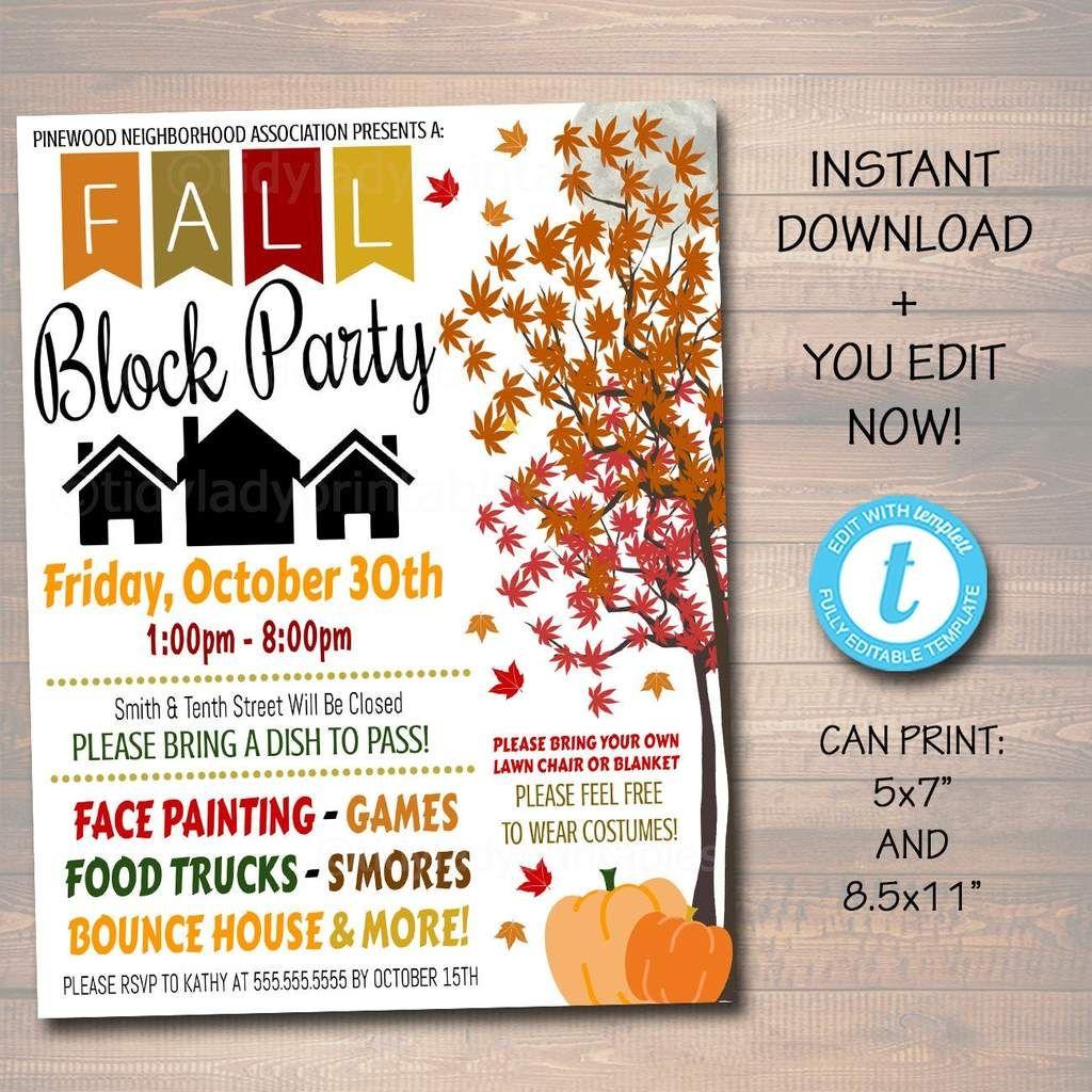 Fall Block Party Festival Harvest Invite Flyer, Printable