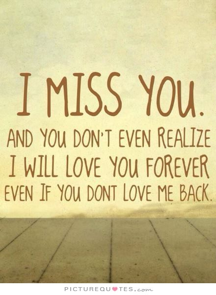 I Miss You. And You Don't Even Realize I Will Love You