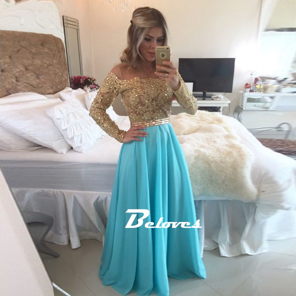 Lace / Chiffon Off The Shoulder Prom Dress With Gold Beading   Prom ...