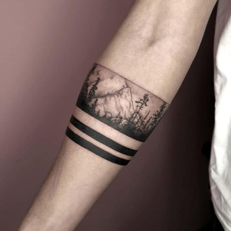 101 Amazing Mountain Tattoo Ideas You Need To See Outsons Men S Fashion Tips And Style Guide Fo Leg Band Tattoos Forearm Band Tattoos Band Tattoos For Men