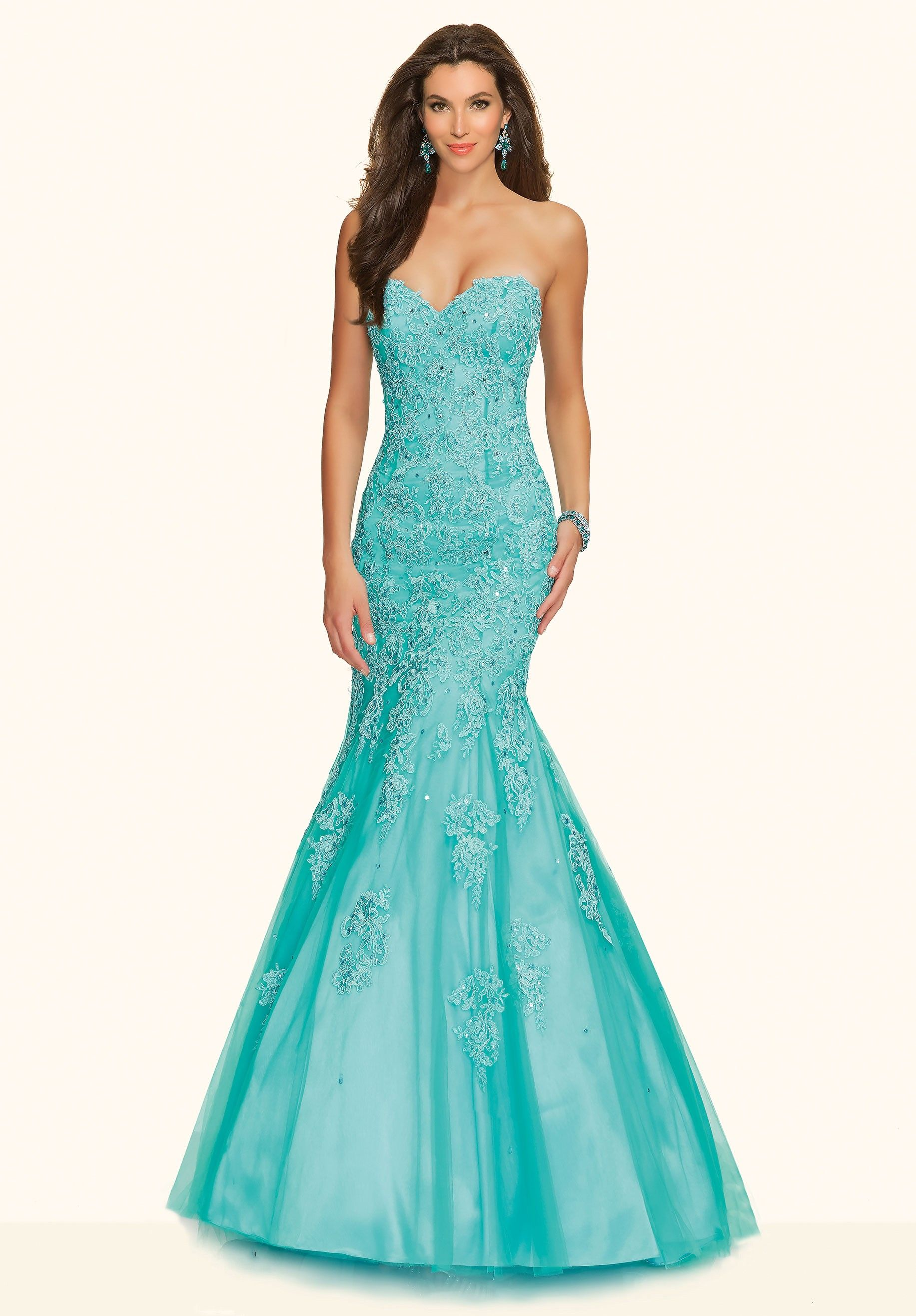 Blue Sweetheart Tulle Fit And Flare Trumpet Mermaid Prom Dress ...