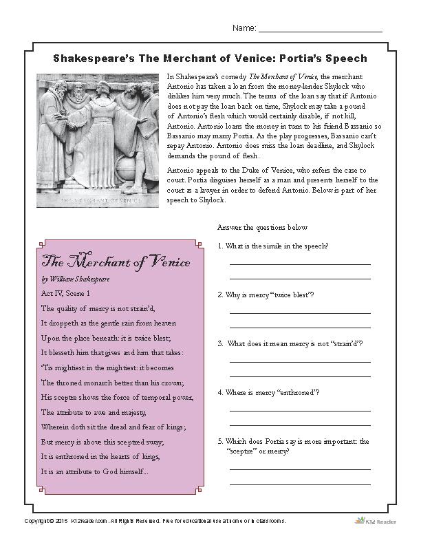 Shakespeares The Merchant of Venice Portias Speech Reading – Shakespeare Language Worksheet