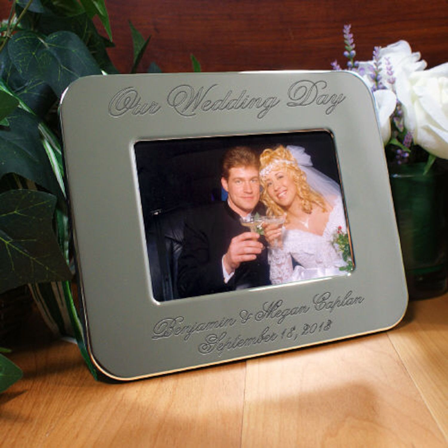 Personalized Engraved Wedding Day Silver Picture Frame | Products ...