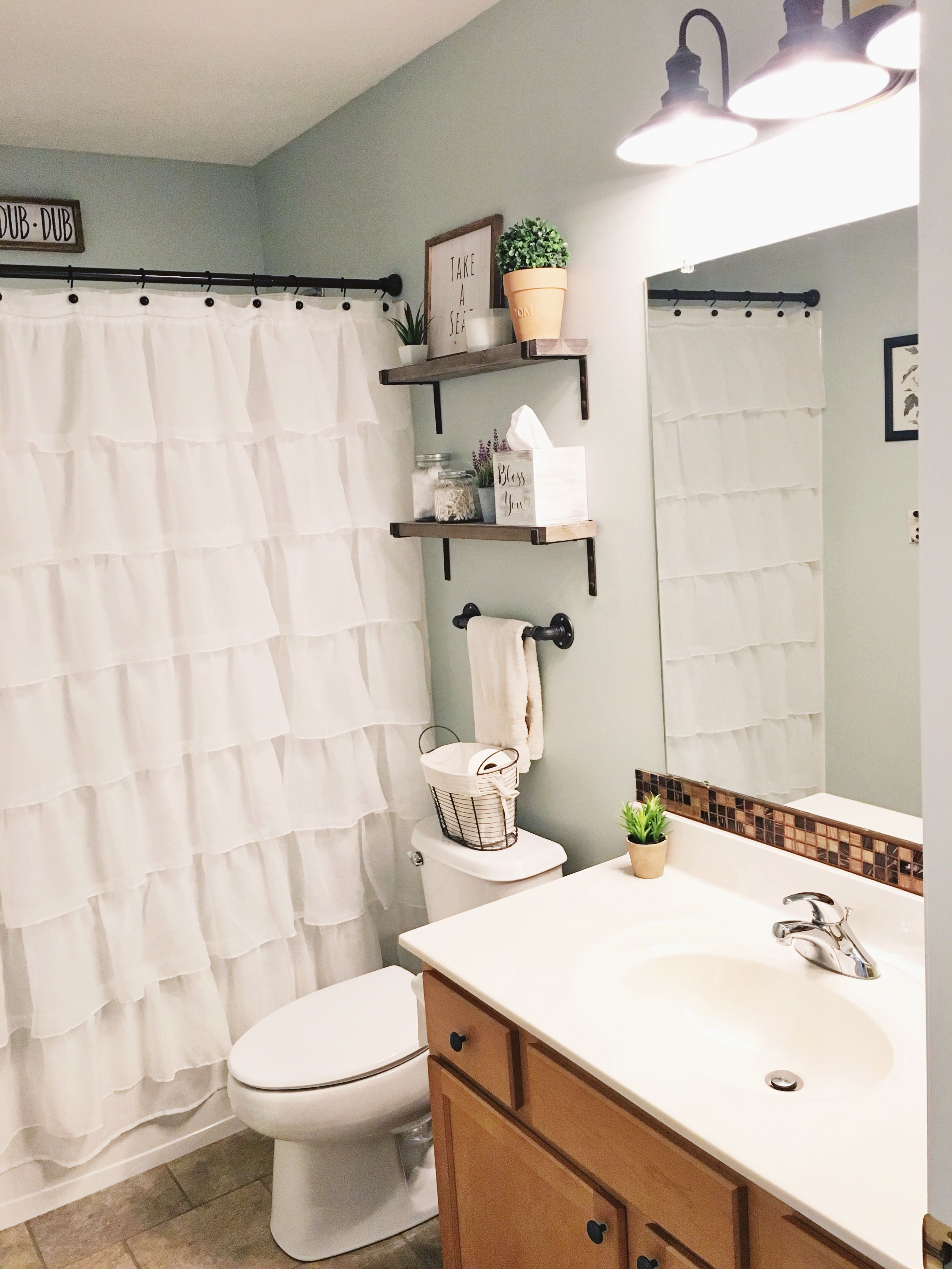 Farmhouse Style Guest Bathroom Sea Salt Blue Gray By Sherwin