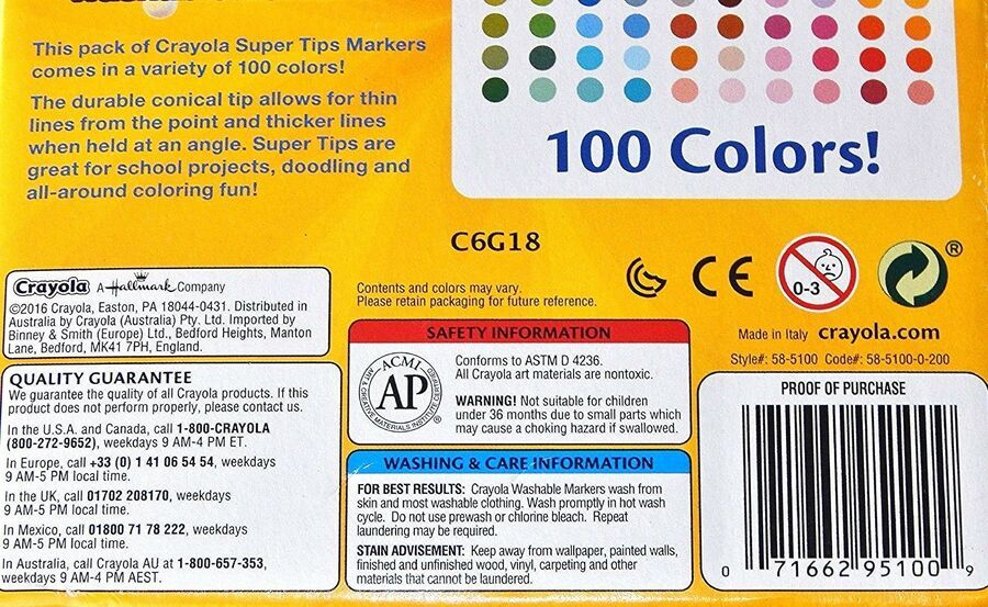 Crayola 100 Super Tips Fine Line Markers Washable Art Craft