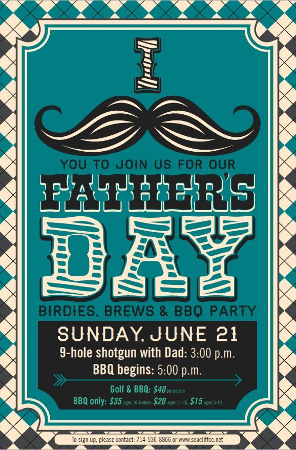 Father's Day Mustache poster flyer template | Father's Day ...