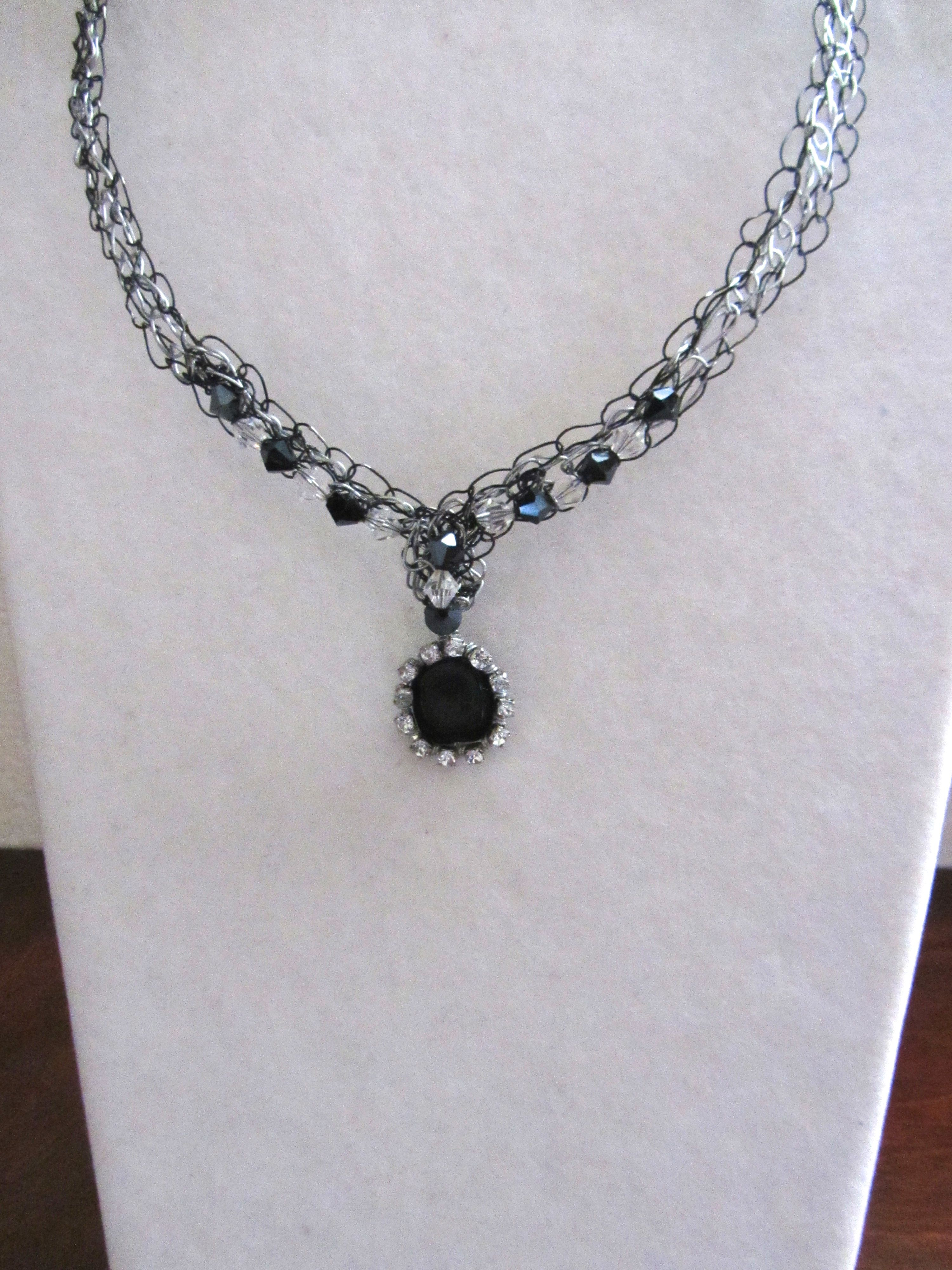 Handmade necklace, cupchain wrapped square Czech bead on black and ...