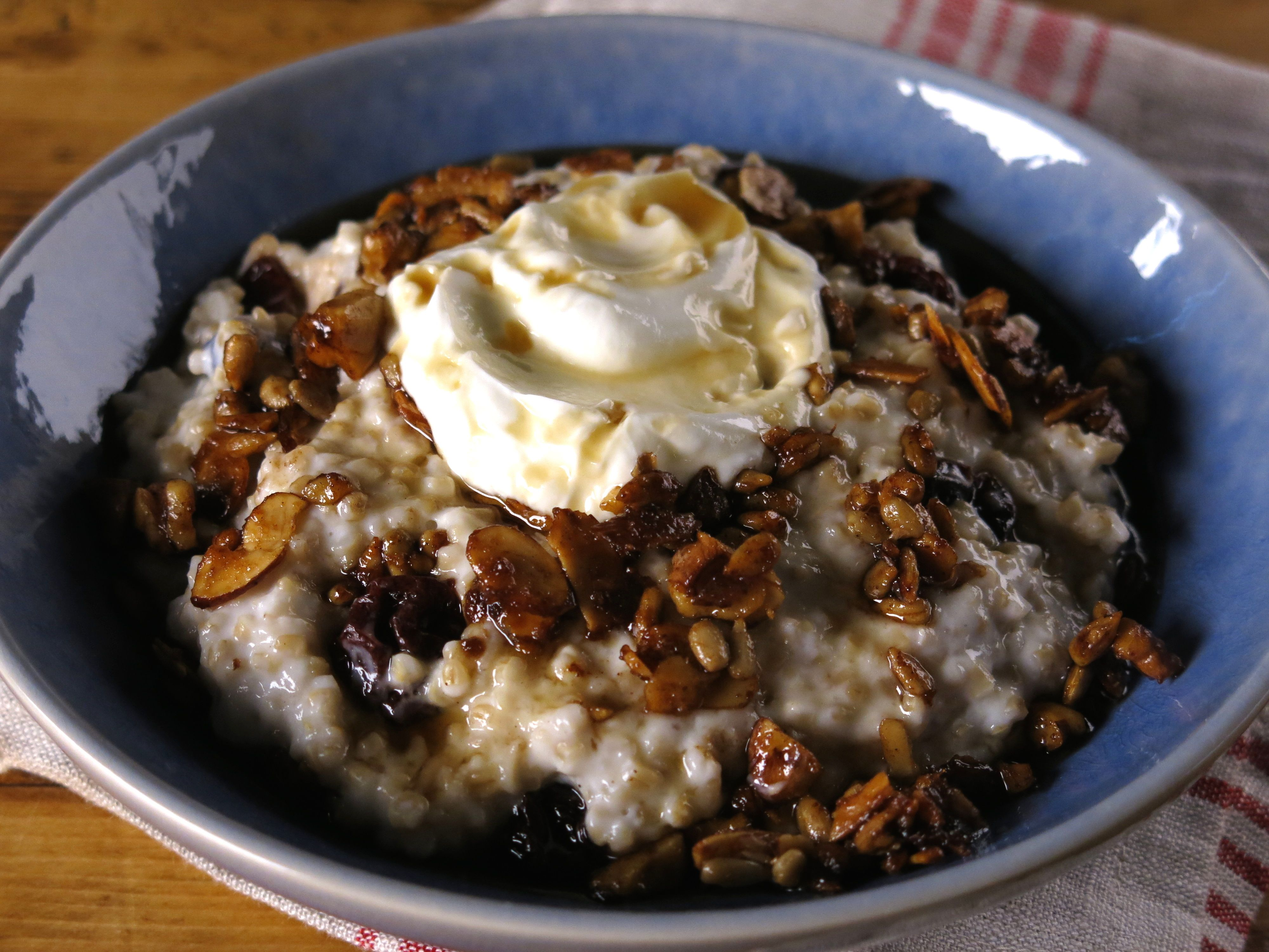 Curach toasted oats with honey and whiskey cream brunch at get crunchy maple topped irish oatmeal recipe from cooking channel bobby flat forumfinder Image collections