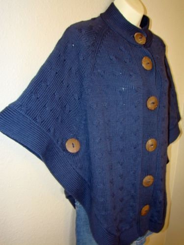 0abe611dd8a1 PURE-HANDKNIT-PONCHO -CAPE-SWEATER-S-M-100-COTTON-LARGE-BUTTONS-BLUE-HEAVY-WARM