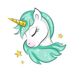 Cute magical unicorn is dreaming. Vector design isolated on white background. Print for t-shirt or sticker. Romantic hand drawing illustration for children.