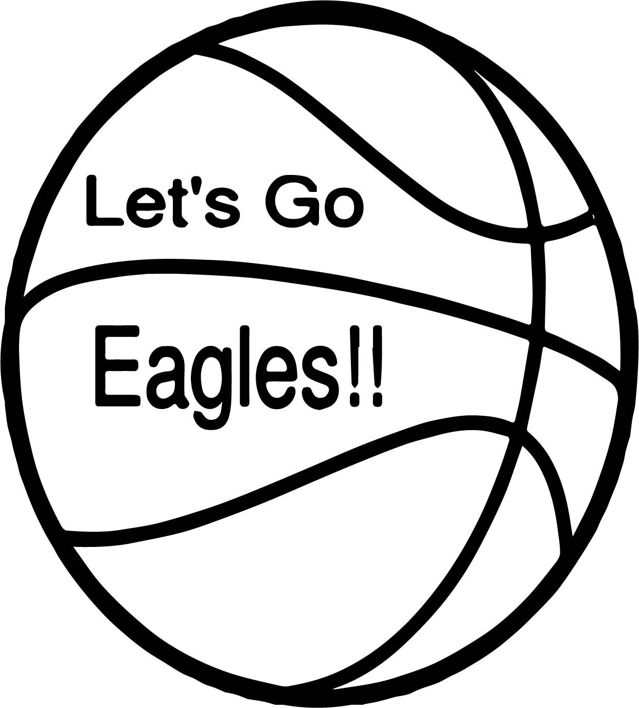 Cool Lets Go Eagle Ball Playing Basketball Coloring Page