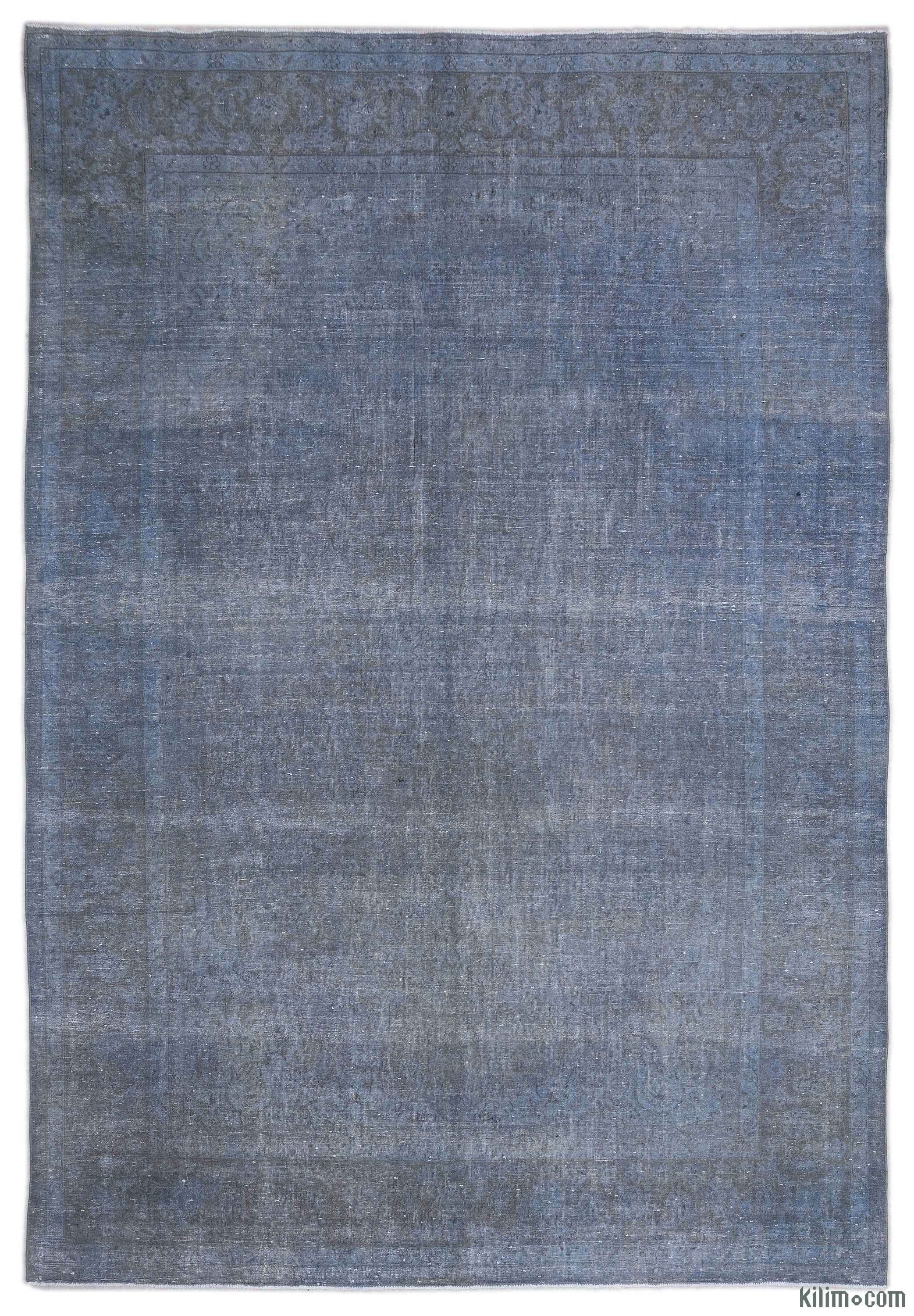 K0018403 Blue Over-dyed Persian Vintage Rug | Kilim Rugs, Overdyed Vintage Rugs, Hand-made Turkish Rugs, Patchwork Carpets by Kilim.com