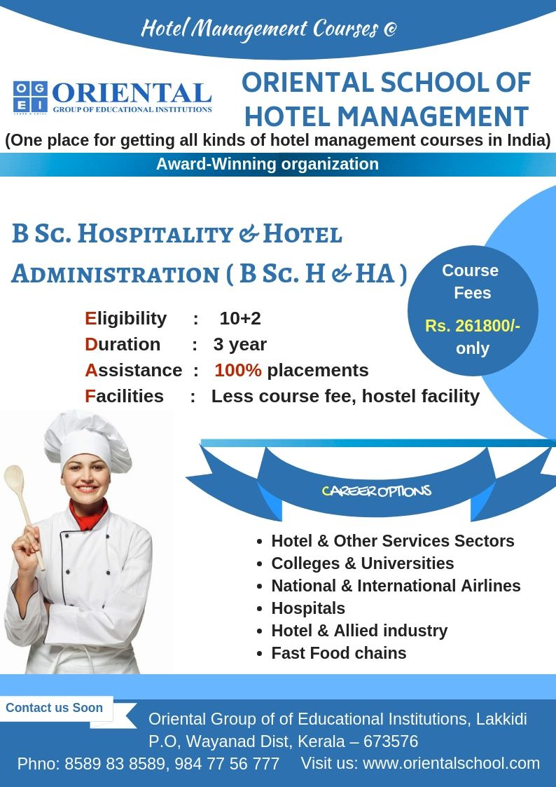 Hospitality Management Course Kerala Bsc Hospitality In India Hospitality Management Hotel Management Hotel