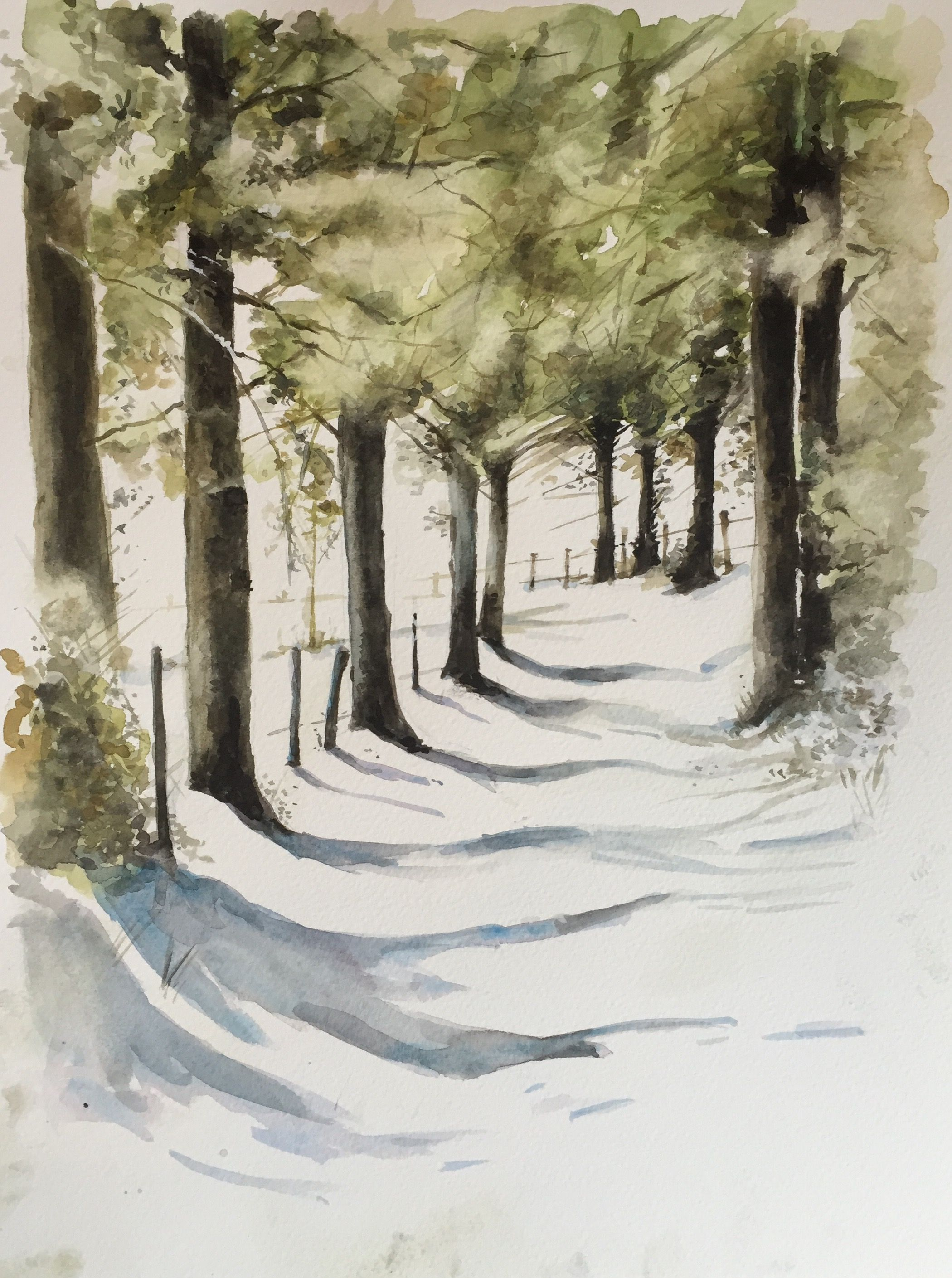 Watercolour Woods And Snow In 2019 Watercolor Paintings