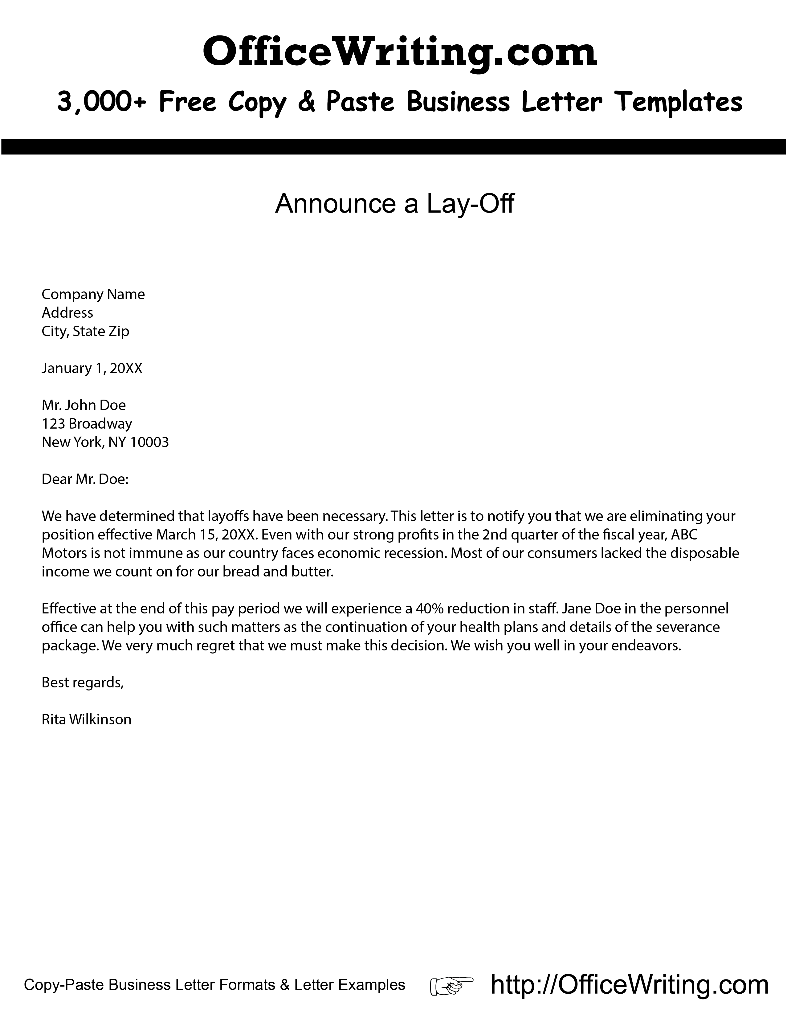 Laid Off Letter Template
