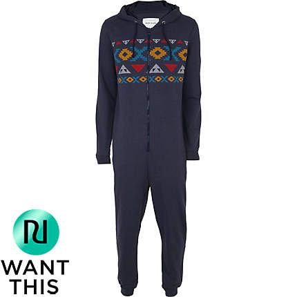 hot-selling real look out for genuine mens blue aztec hooded onesie - loungewear - accessories ...