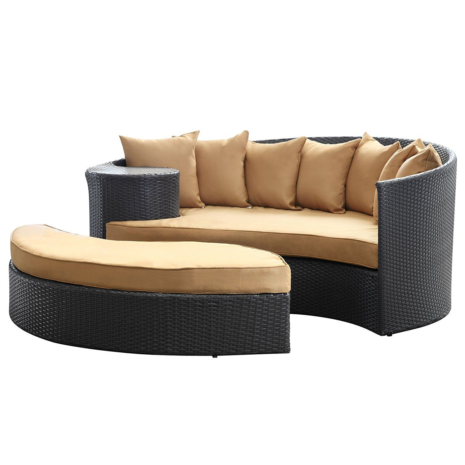 Lexmod Taiji Outdoor Wicker Patio Daybed With Ottoman In Espresso With Mocha Cushions Outdoor Daybed Patio Lounge Chairs Patio Daybed
